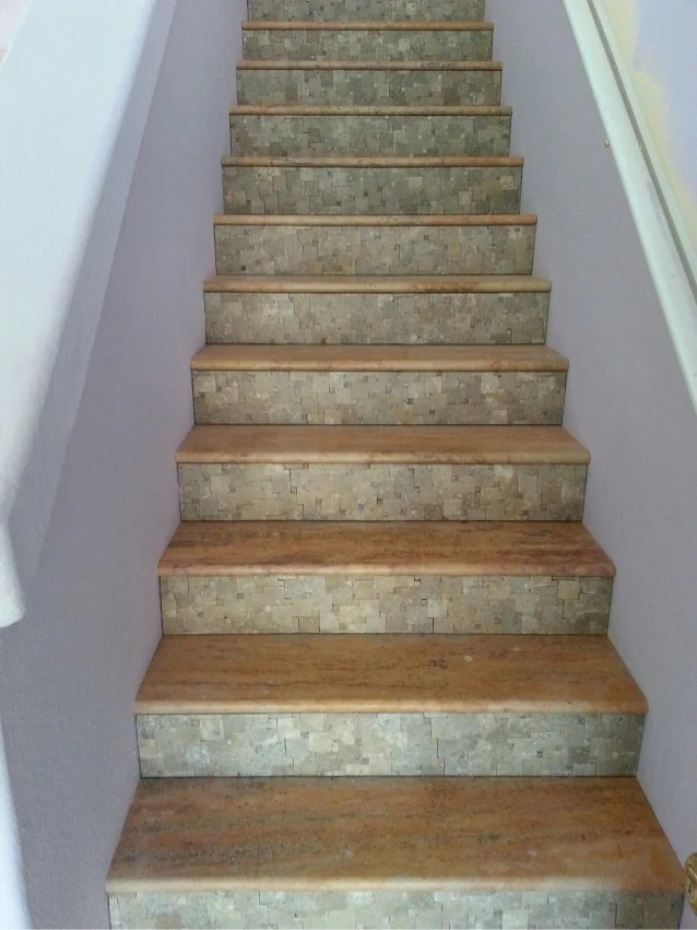 Phoenix Travertine Tile Stair Treads Risers Design Ideas Authentic … | Tread Riser Staircase Design | Effective | Contemporary | Cad Detail | Folded Plate | Angled