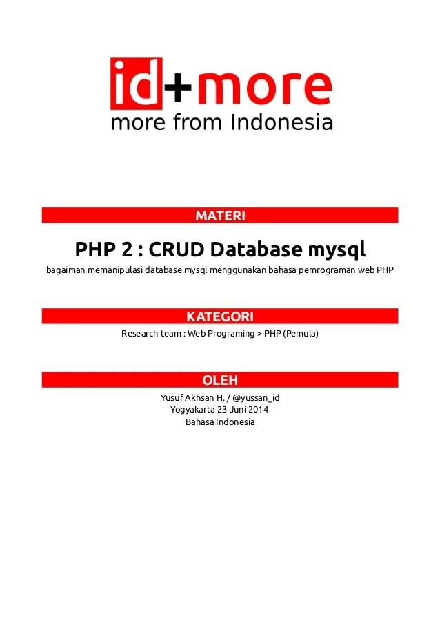 Cara Membuat Crud Dengan Php Dan Mysql Untuk Pemula : membuat, dengan, mysql, untuk, pemula, Database, Mysql