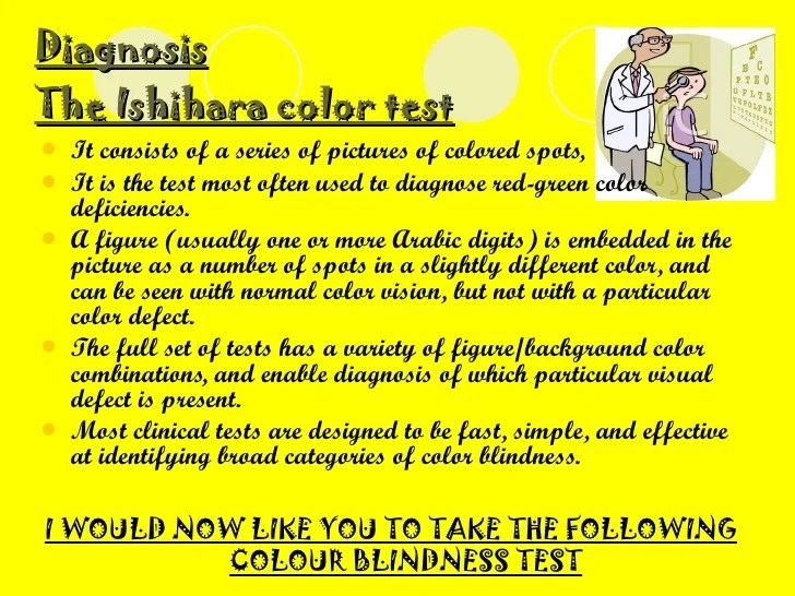 diagnosis the ishihara also colour blindness charts rh slideshare