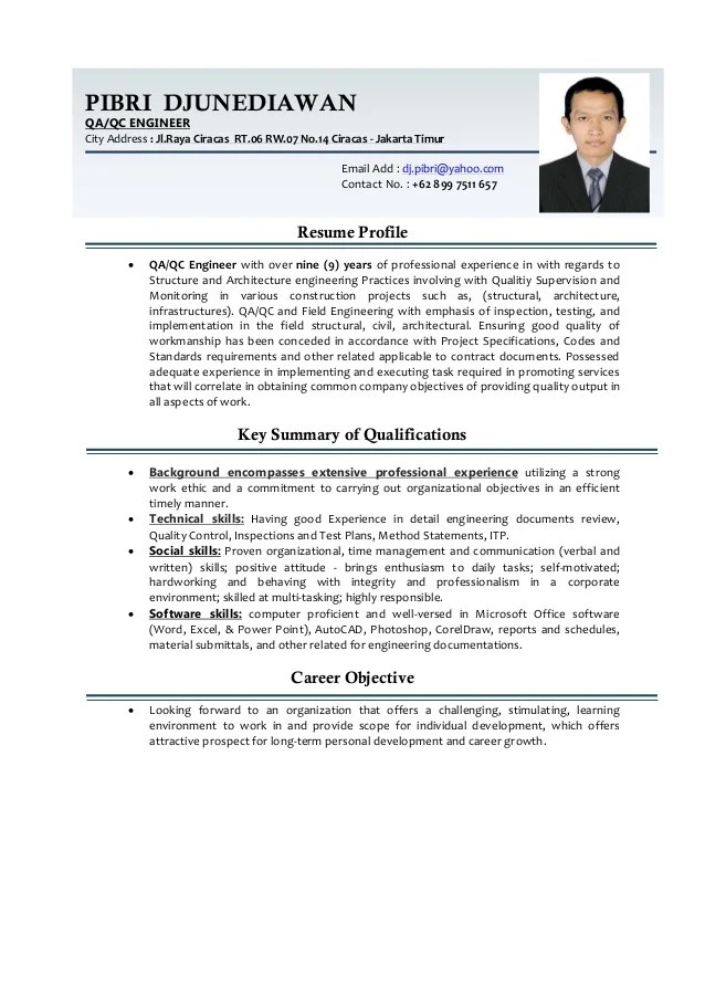 QA QC Engineer CV