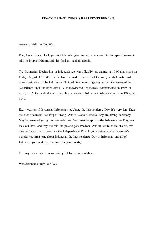 Doc Pidato Hari Kemerdekaan Nurlinda Jusli Academia Edu Cute766