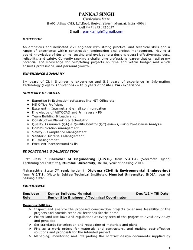 construction manager sample resume