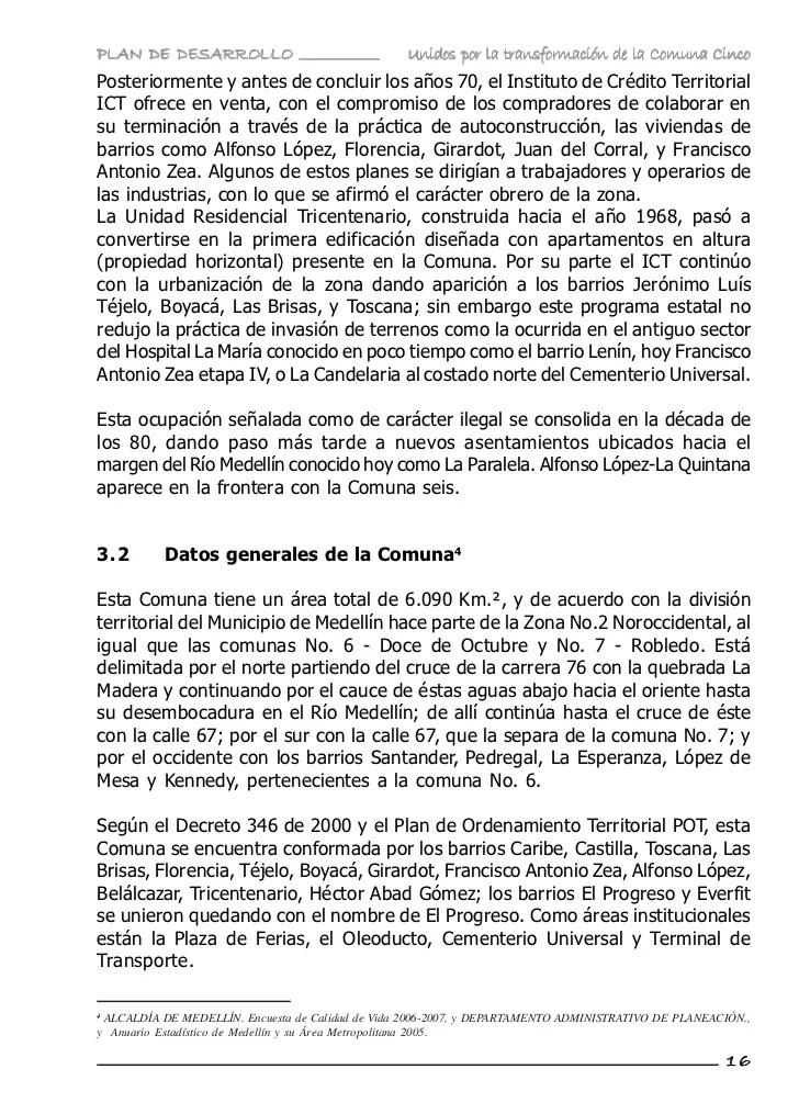 Plan de desarrollo Comuna 5