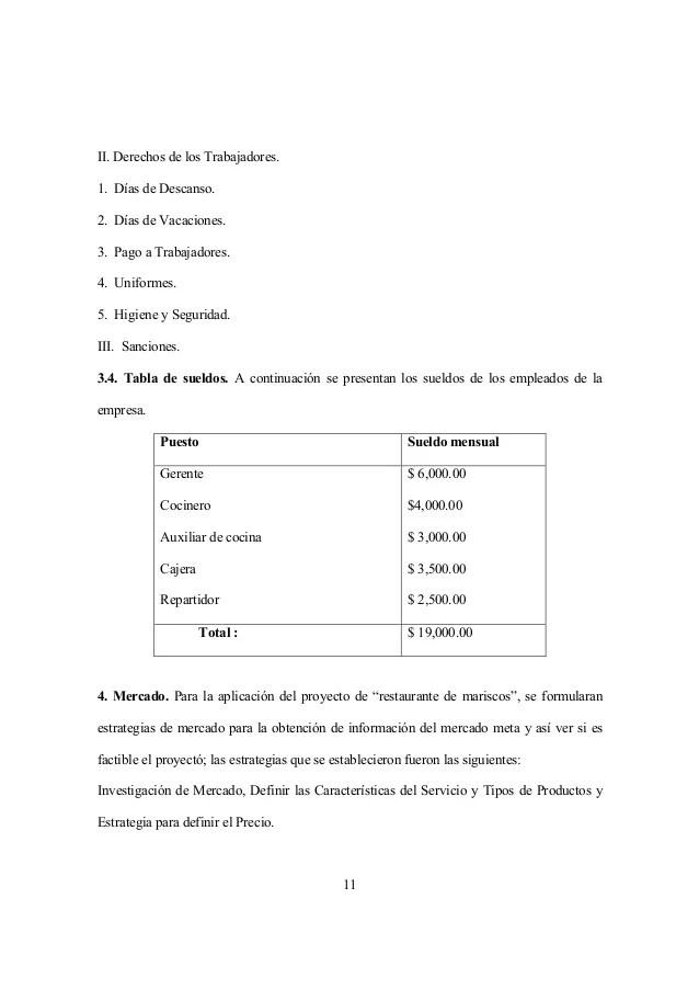 Plan De Negocio Rest Mariscos