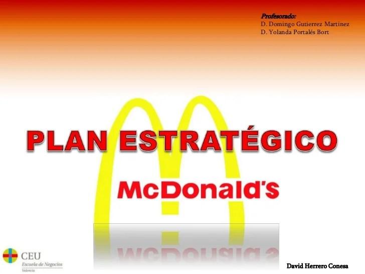 Plan estratgico McDonalds