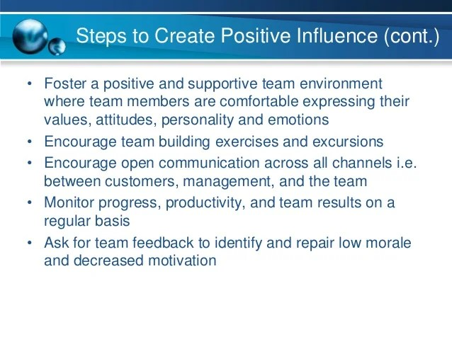 Plan for positive influence