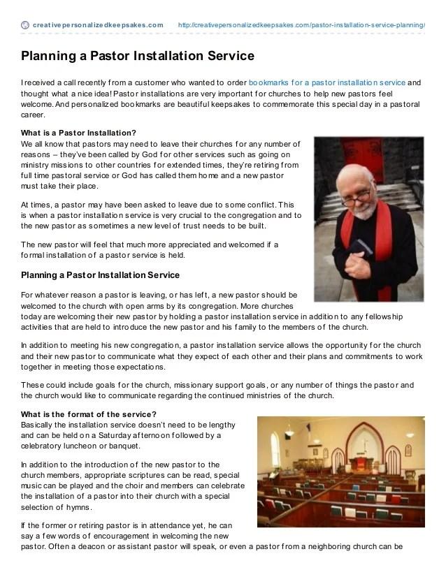 Planning A Pastor Installation Service
