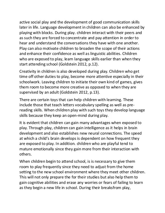 Essay Children Play And Child Development Sample Essay Essay On
