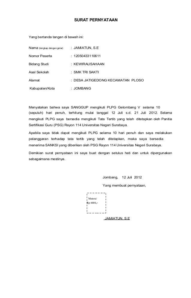 Contoh Surat Pernyataan Kesanggupan Mengikuti Pelatihan ...