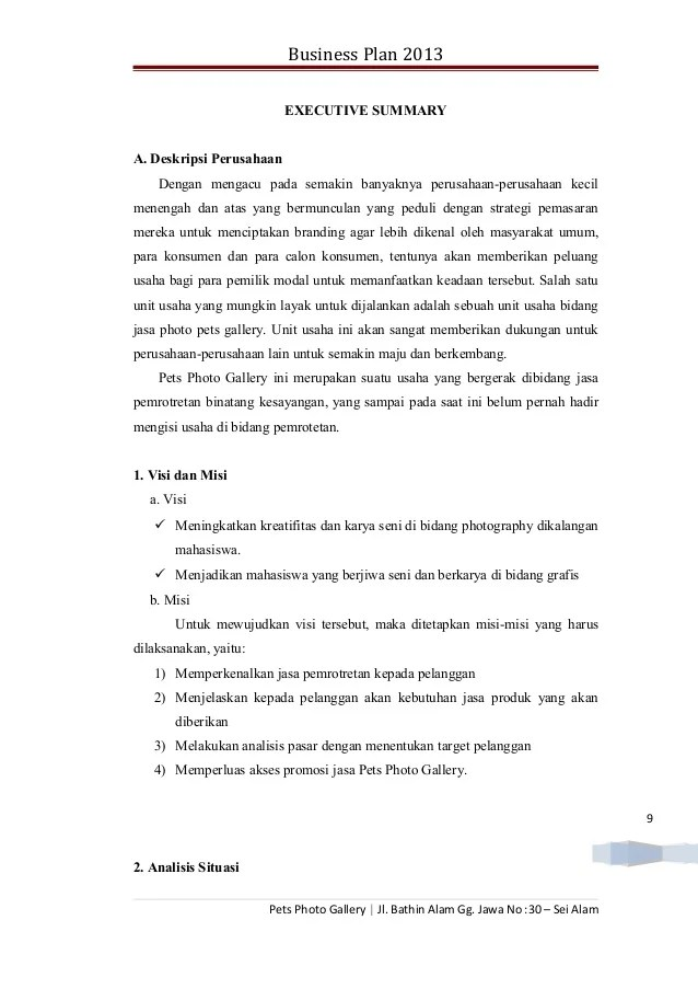 Contoh Bisnis Plan Executive Summary Warsiogx Cute766