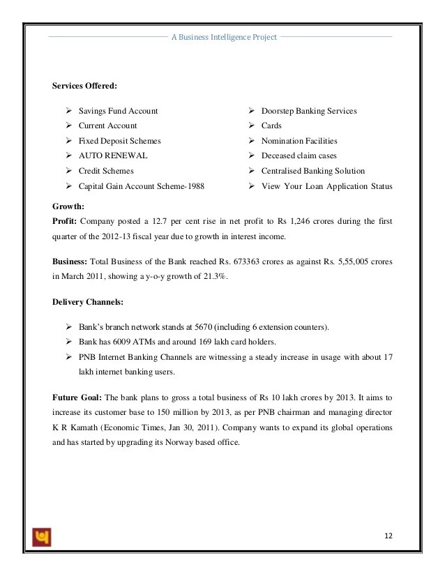 Business Intelligence At Punjab National Bank