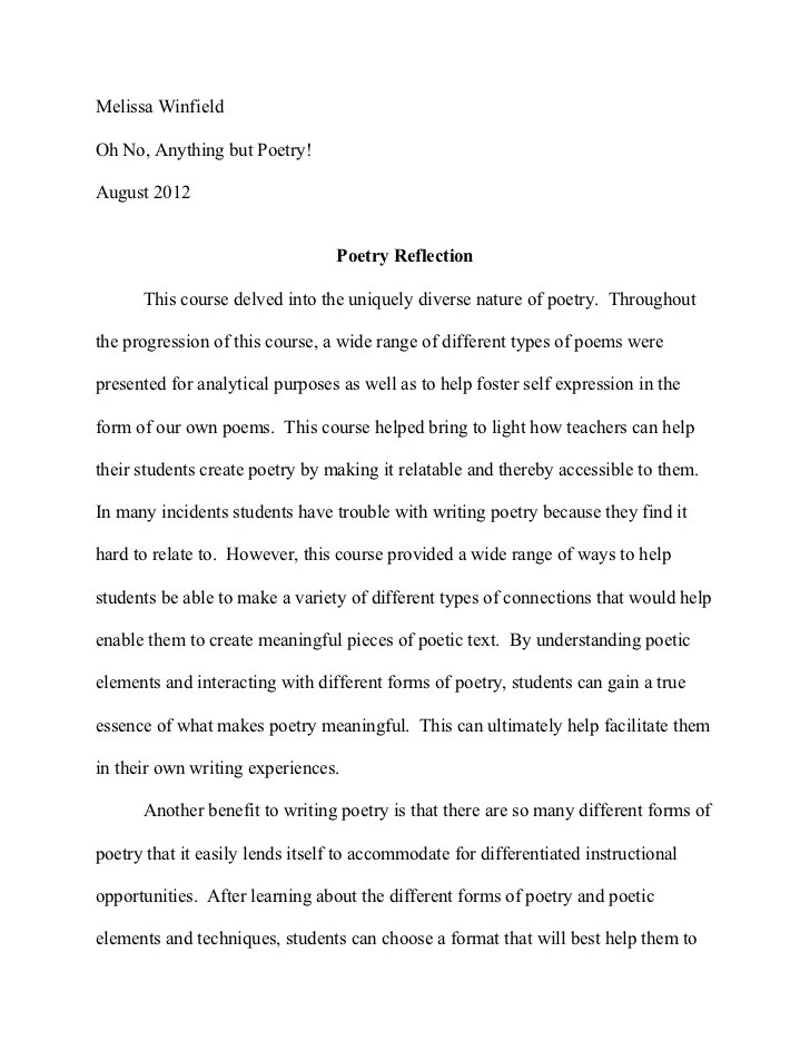 Examples Of Reflection Essays Hospi Noiseworks Co