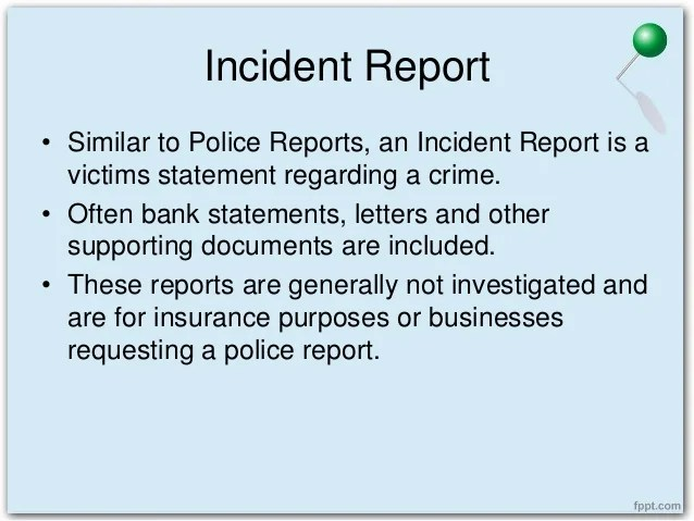 incident report vs accident report