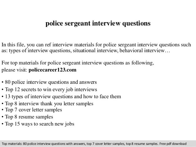 Police Sergeant Cover Letters