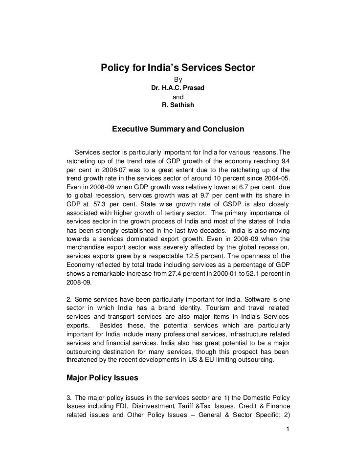 Policy Paper On Services Sector