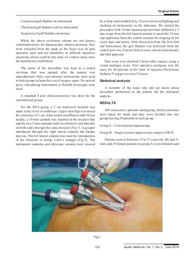 Post Operative Pain after Cholecystectomy Conventional ...