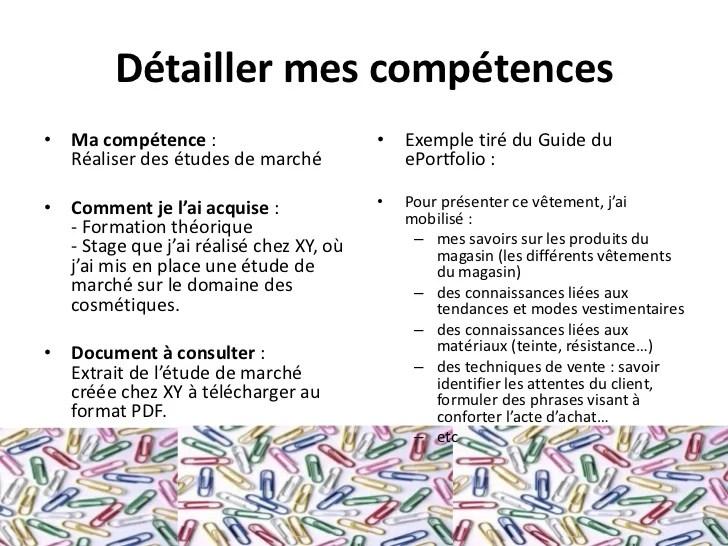 competences cv etude de marche