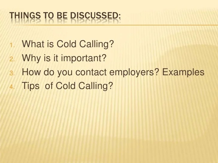Powerpoint Presentation Cold Calling