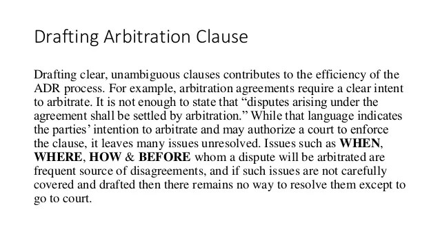 Drafting Arbitration Clause