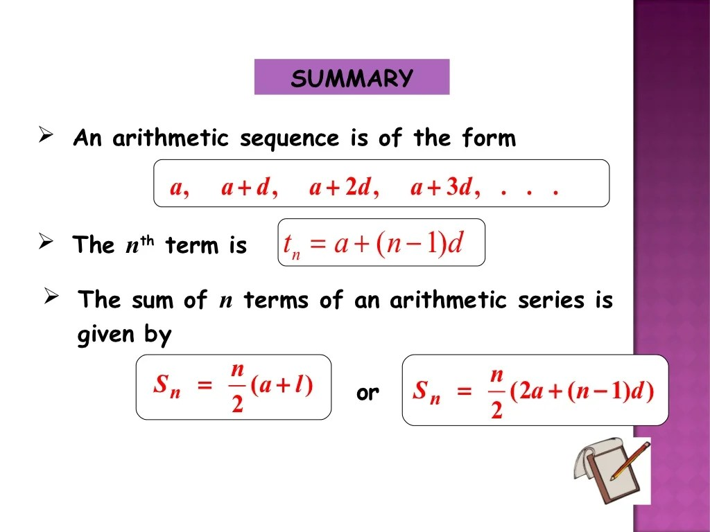 Ppt Formula For Sum Of Series