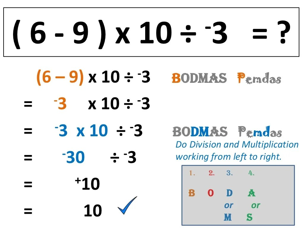 Integers Order Of Operations