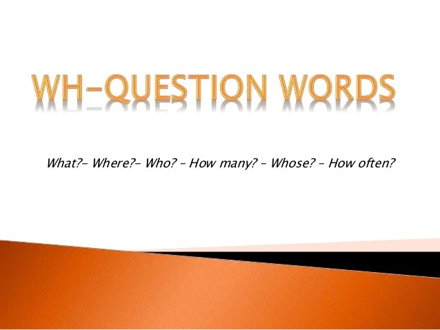Ppt Wh Questions Words Tercero