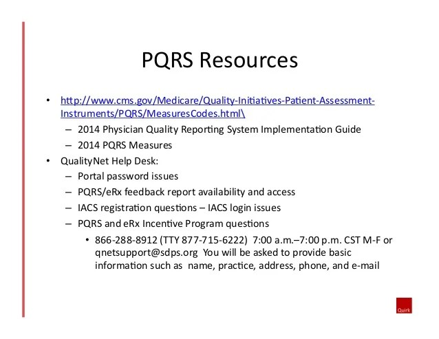 Physician Quality Reporting System (pqrs