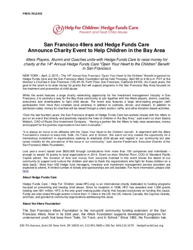 San Francisco 49ers And Hedge Funds Care Announce Charity