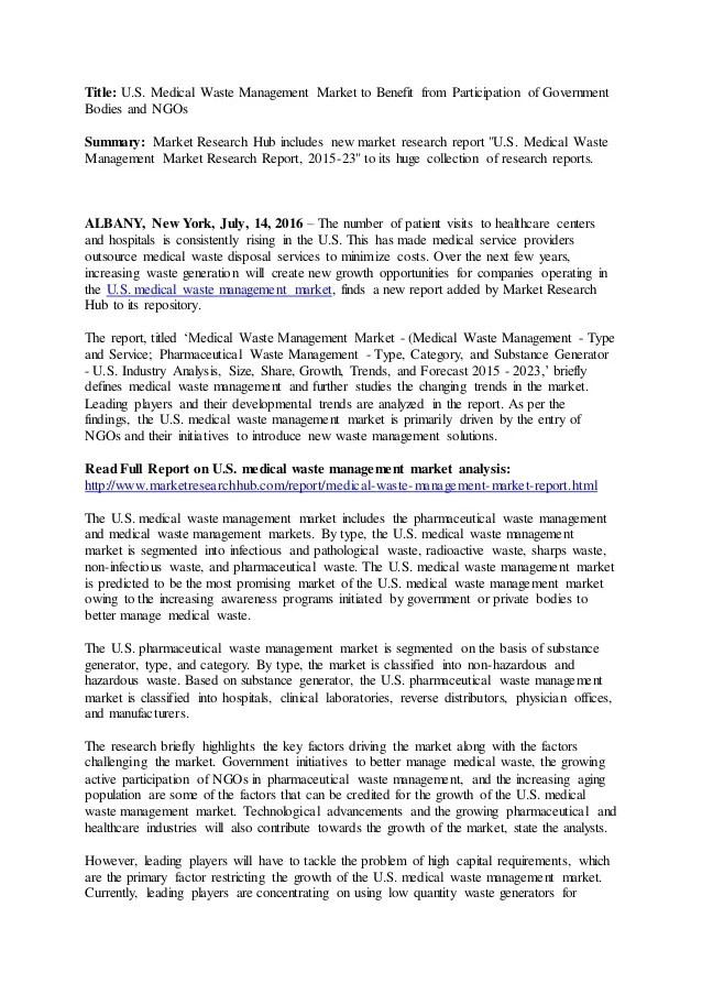 U S Medical Waste Management Market Industry Analysis 2015 2023