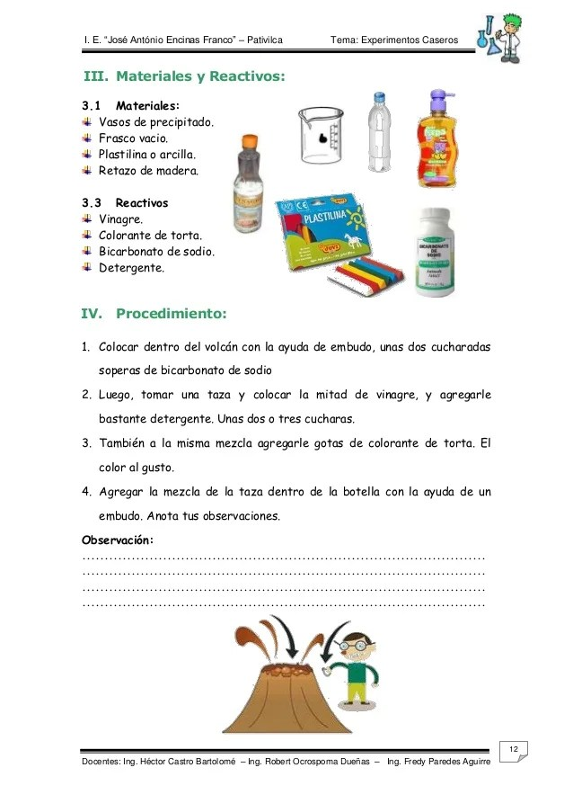 EXPERIMENTOS DE QUIMICA PARA NIVEL PRIMARIA