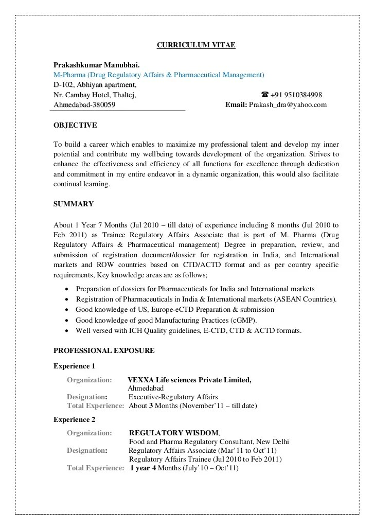 regulatory affairs cv