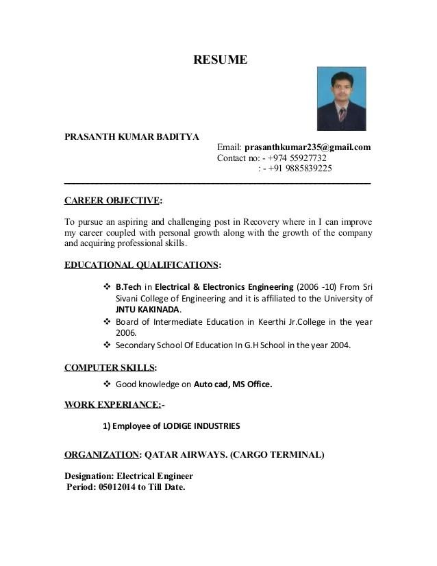 resume model for eee freshers