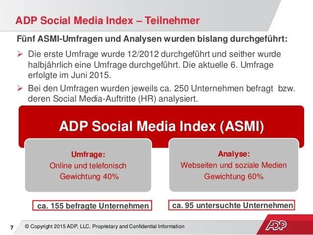Adp Social Media Index  Ergebnisse Der 6 Umfrage (juli 2015