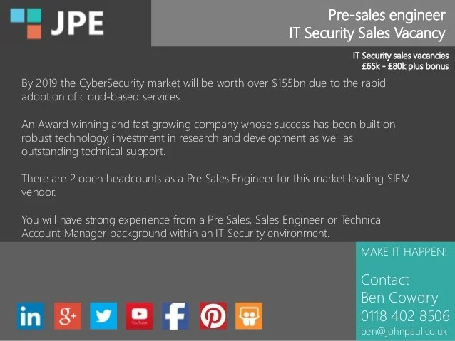 Pre-sales engineer IT Security Sales Vacancy