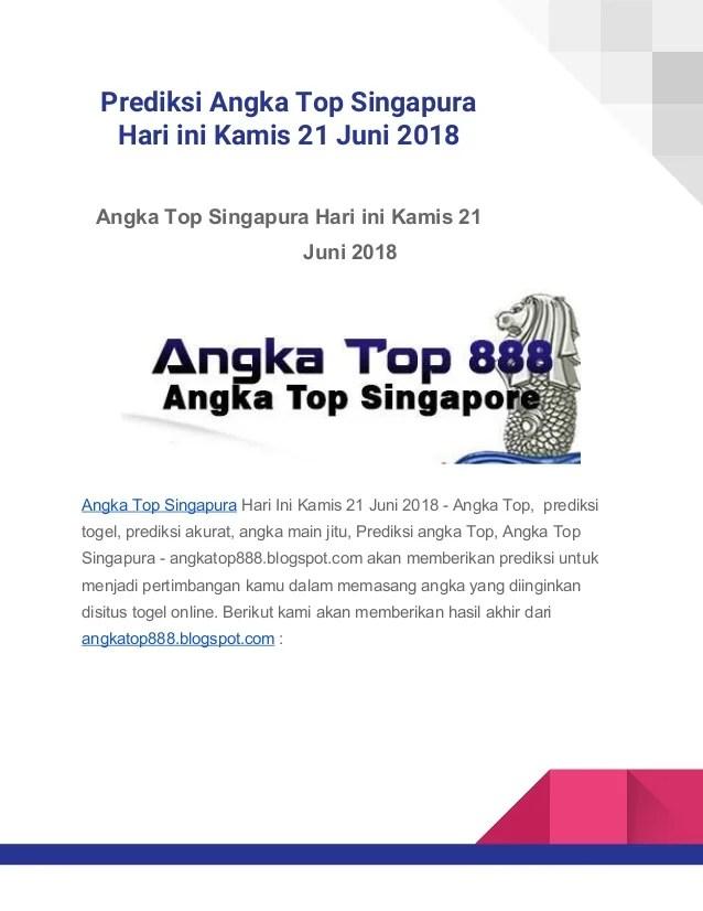 Angka Top Kamis : angka, kamis, Prediksi, Angka, Singapura, Kamis