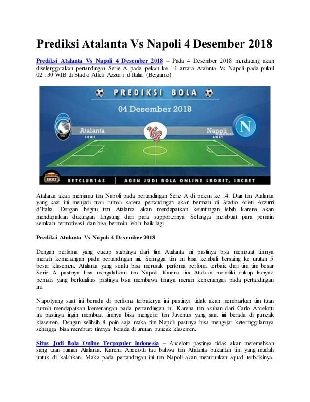 Prediksi Atalanta Vs Parma : prediksi, atalanta, parma, Prediksi, Atalanta, Napoli, Desember