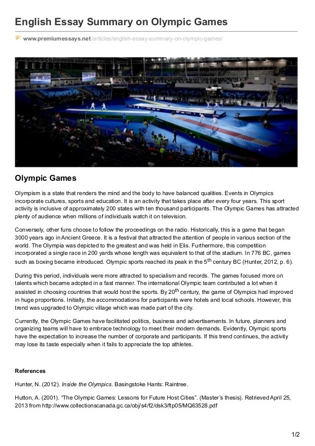Premiumessays Net English Essay Summary On Olympic Games