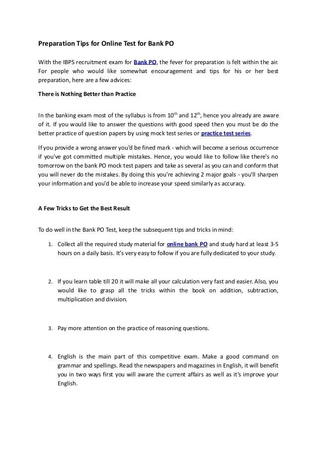 Preparation Tips For Online Test For Bank Po