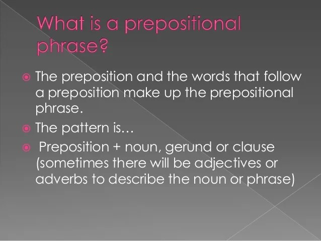 Back To Prepositional Phrases
