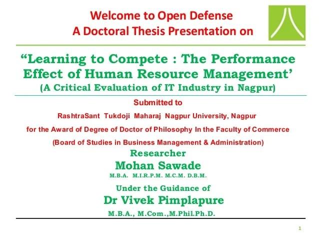 Powerpoint Presentation Of PhD Viva