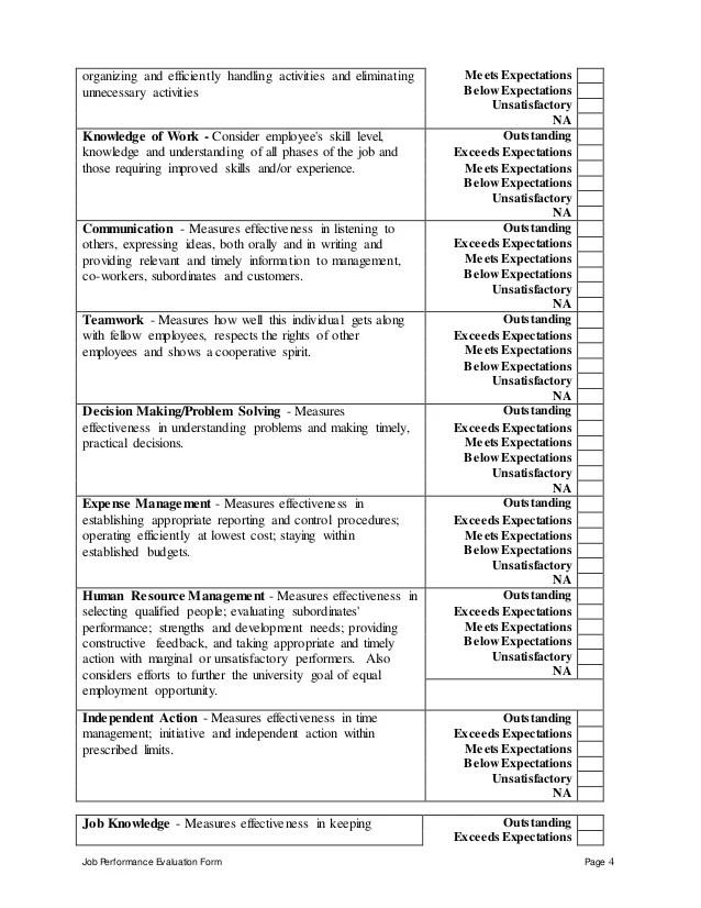 Performance Evaluation Form Teacher