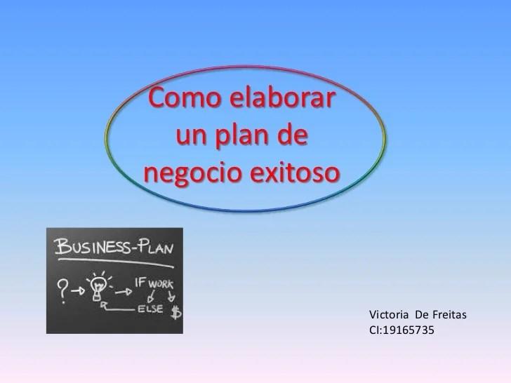 Como Elaborar Un Plan De Negocio Exitoso