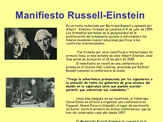 Resultado de imagen para Fotos del Manifiesto Russell-Einstein sobre desarme nuclear.