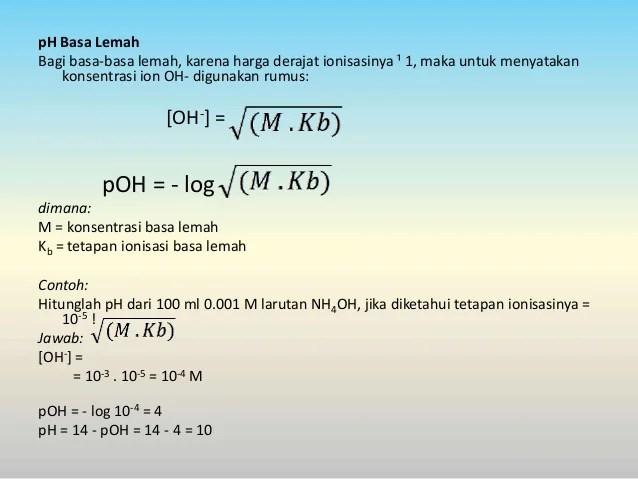 Kekuatan Asam Basa dan pH Larutan Kimia Kelas XI
