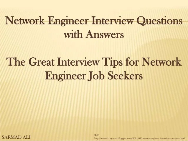 Network Engineer Interview Questions vwith Answers