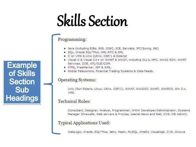 Resume Resume Examples Technical Skills Section Skills Section Of Resume  Example Work Section
