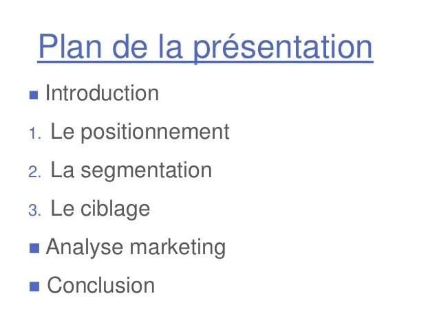 Prsentation Marketing  Positionnement Ciblage et Segmentation
