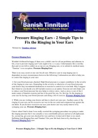 Pressure ringing ears 2 simple tips to fix the ringing in ...