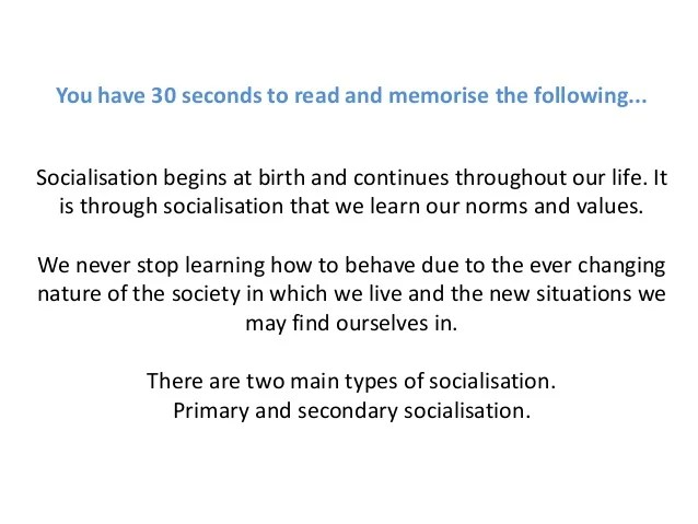 ? Examples of primary socialisation. Socialization. 2019-02-27