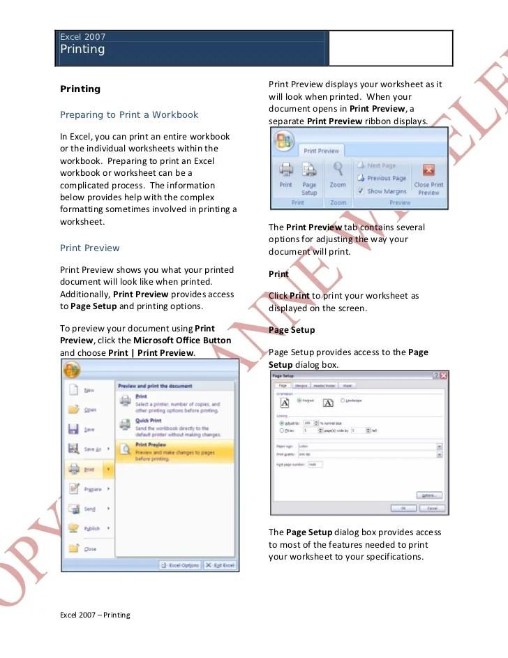 Excel 2007 - Printing